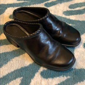 Cole Haan Black Leather Square Toe Braided Mules 6